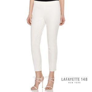 LAFAYETTE 148 White Flat Front Ankle ZIP Pants